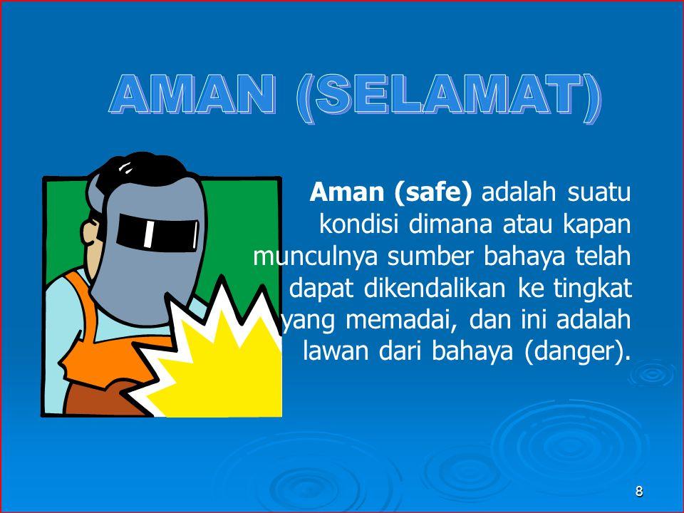 Aman (safe) adalah suatu kondisi dimana atau kapan munculnya sumber bahaya telah dapat dikendalikan ke tingkat yang memadai, dan ini adalah lawan dari bahaya (danger).