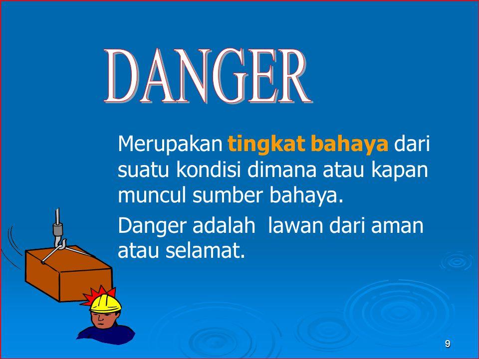 Danger adalah lawan dari aman atau selamat.