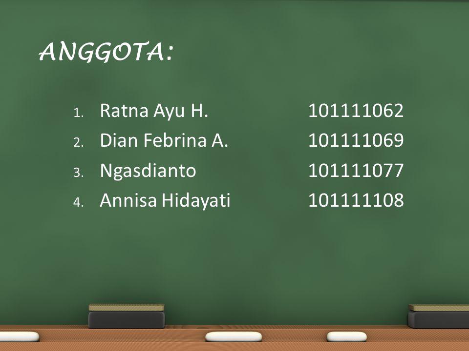 ANGGOTA: Ratna Ayu H. 101111062 Dian Febrina A. 101111069