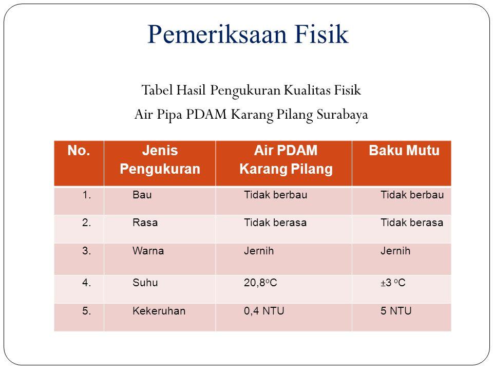 Pemeriksaan Fisik Tabel Hasil Pengukuran Kualitas Fisik Air Pipa PDAM Karang Pilang Surabaya No. Jenis Pengukuran.