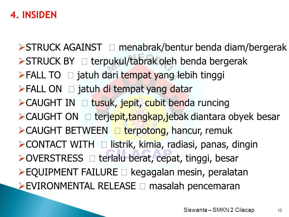 4. INSIDEN STRUCK AGAINST  menabrak/bentur benda diam/bergerak. STRUCK BY  terpukul/tabrak oleh benda bergerak.
