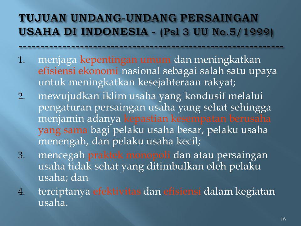 TUJUAN UNDANG-UNDANG PERSAINGAN USAHA DI INDONESIA - (Psl 3 UU No