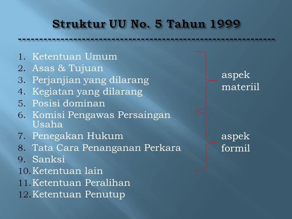 Struktur UU No. 5 Tahun 1999 -------------------------------------------------------------