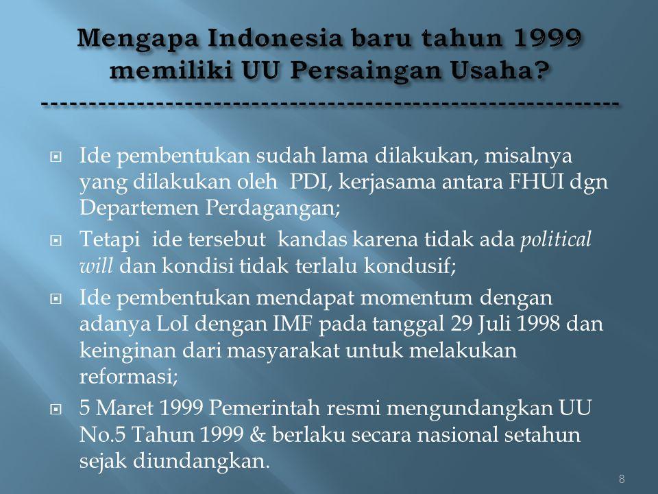 Mengapa Indonesia baru tahun 1999 memiliki UU Persaingan Usaha