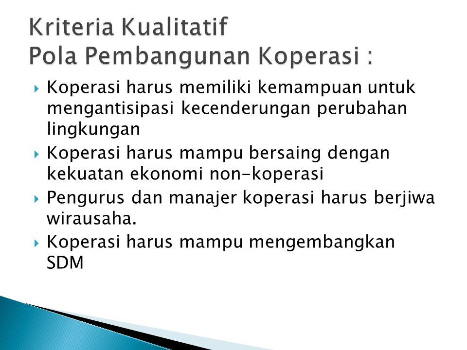 Kriteria Kualitatif Pola Pembangunan Koperasi :