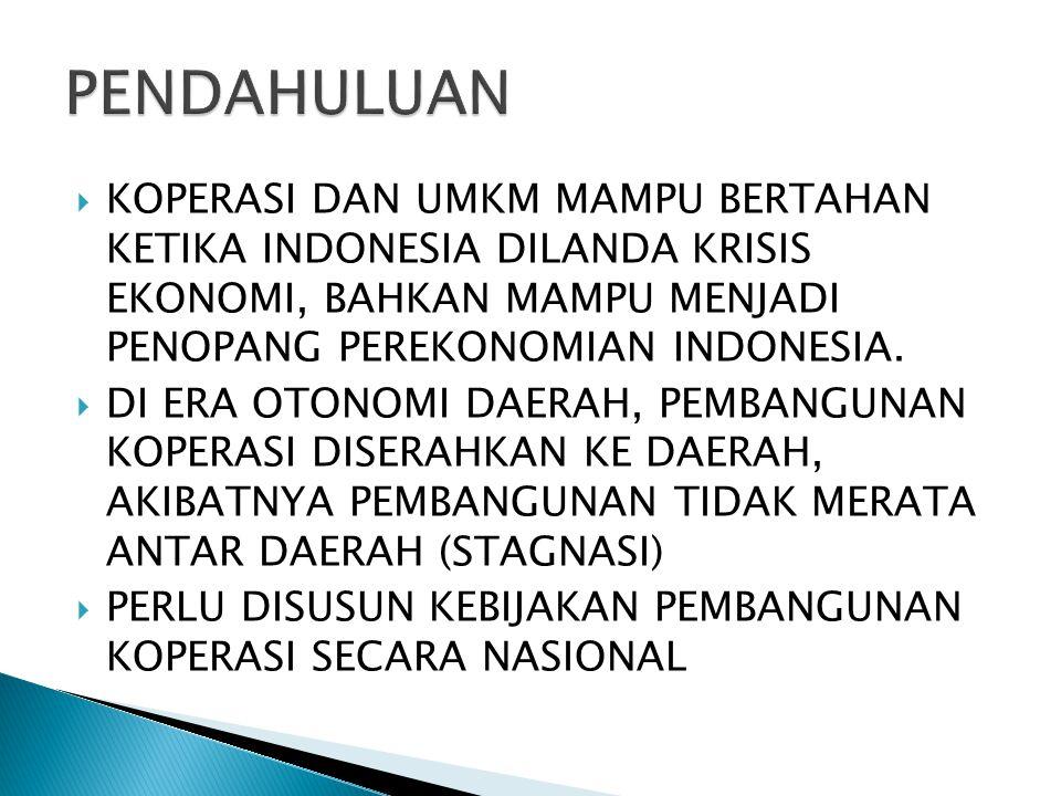 PENDAHULUAN KOPERASI DAN UMKM MAMPU BERTAHAN KETIKA INDONESIA DILANDA KRISIS EKONOMI, BAHKAN MAMPU MENJADI PENOPANG PEREKONOMIAN INDONESIA.