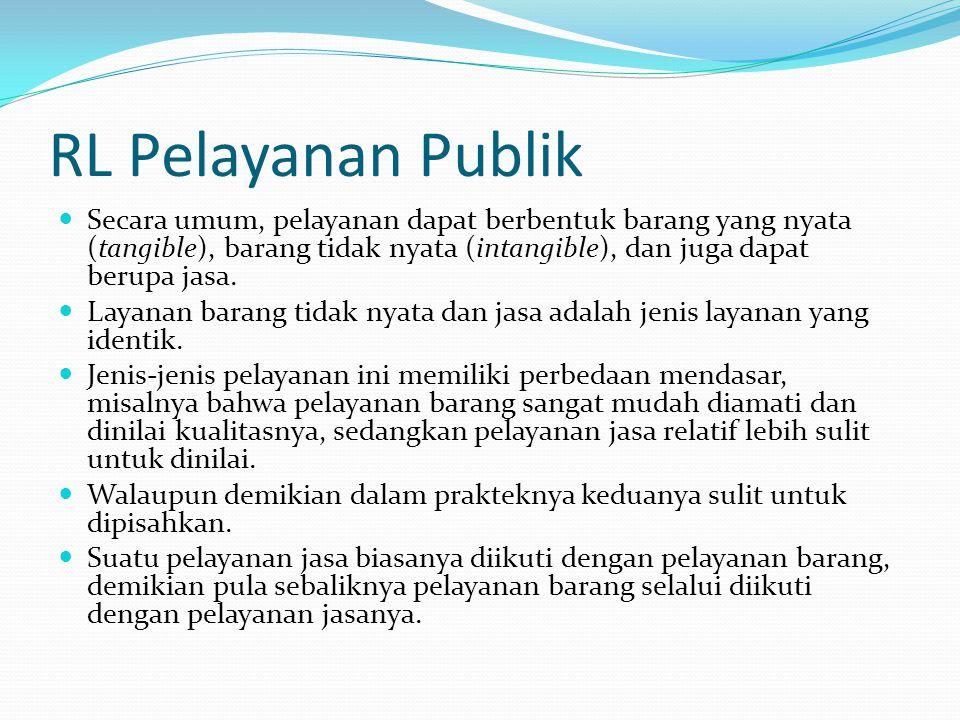 RL Pelayanan Publik Secara umum, pelayanan dapat berbentuk barang yang nyata (tangible), barang tidak nyata (intangible), dan juga dapat berupa jasa.