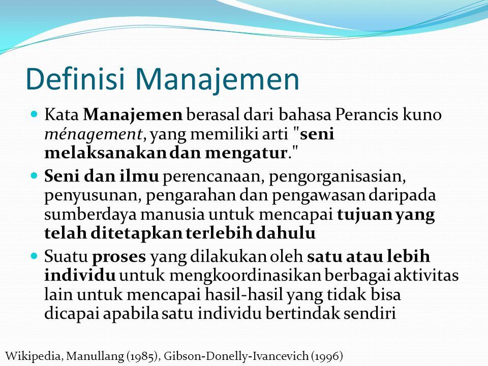 Definisi Manajemen Kata Manajemen berasal dari bahasa Perancis kuno ménagement, yang memiliki arti seni melaksanakan dan mengatur.