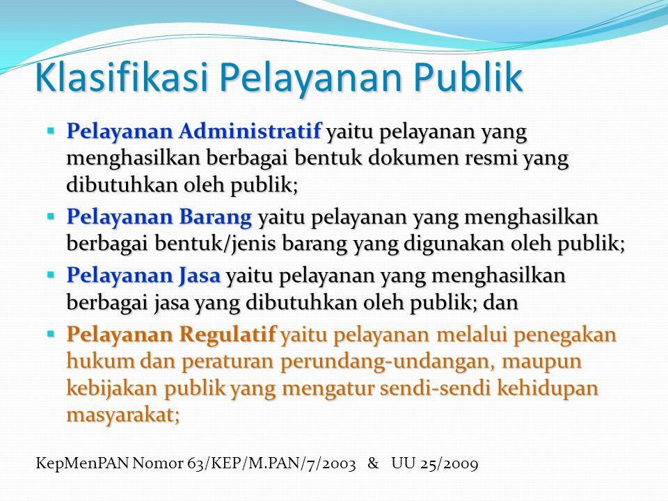 Klasifikasi Pelayanan Publik