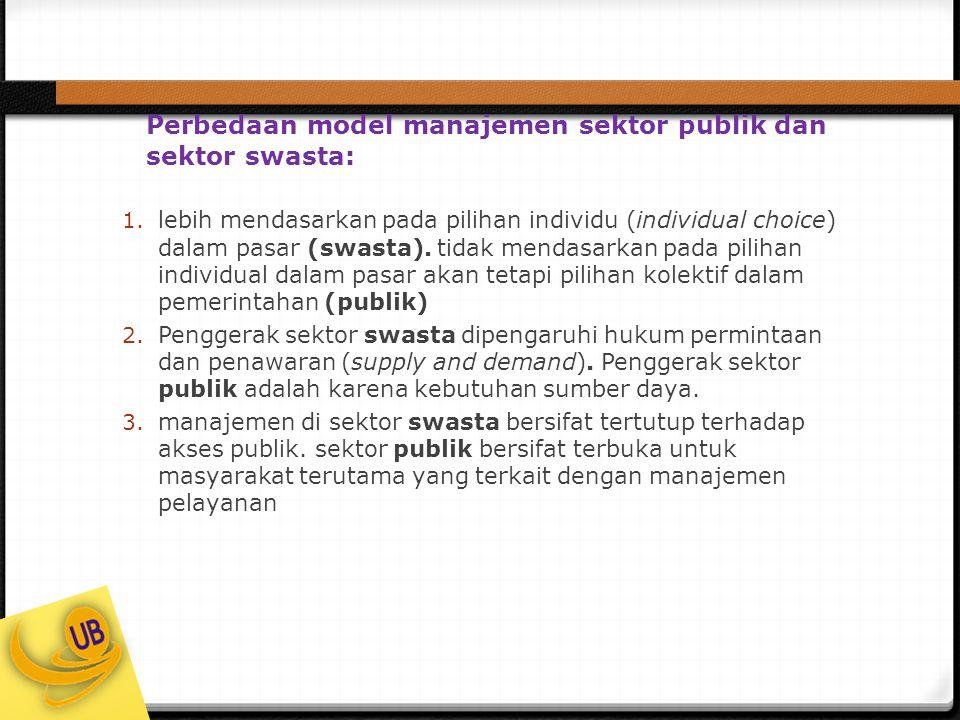 Perbedaan model manajemen sektor publik dan sektor swasta: