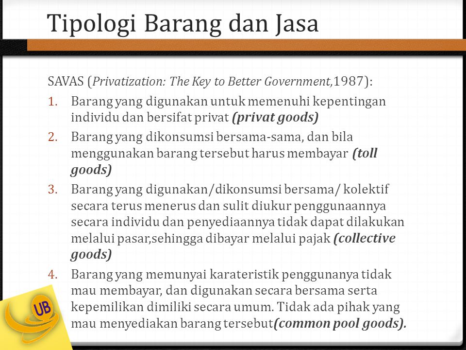 Tipologi Barang dan Jasa