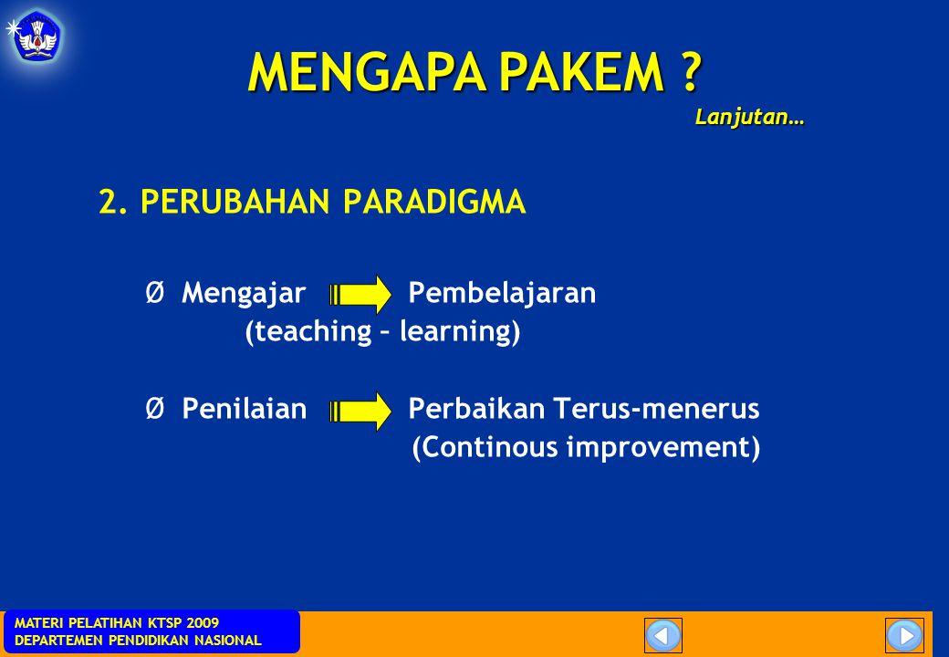 MENGAPA PAKEM 2. PERUBAHAN PARADIGMA Mengajar Pembelajaran