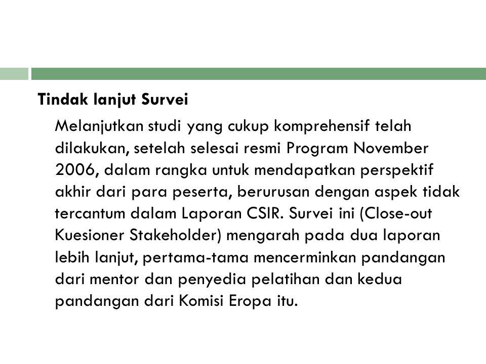 Tindak lanjut Survei Melanjutkan studi yang cukup komprehensif telah dilakukan, setelah selesai resmi Program November 2006, dalam rangka untuk mendapatkan perspektif akhir dari para peserta, berurusan dengan aspek tidak tercantum dalam Laporan CSIR.