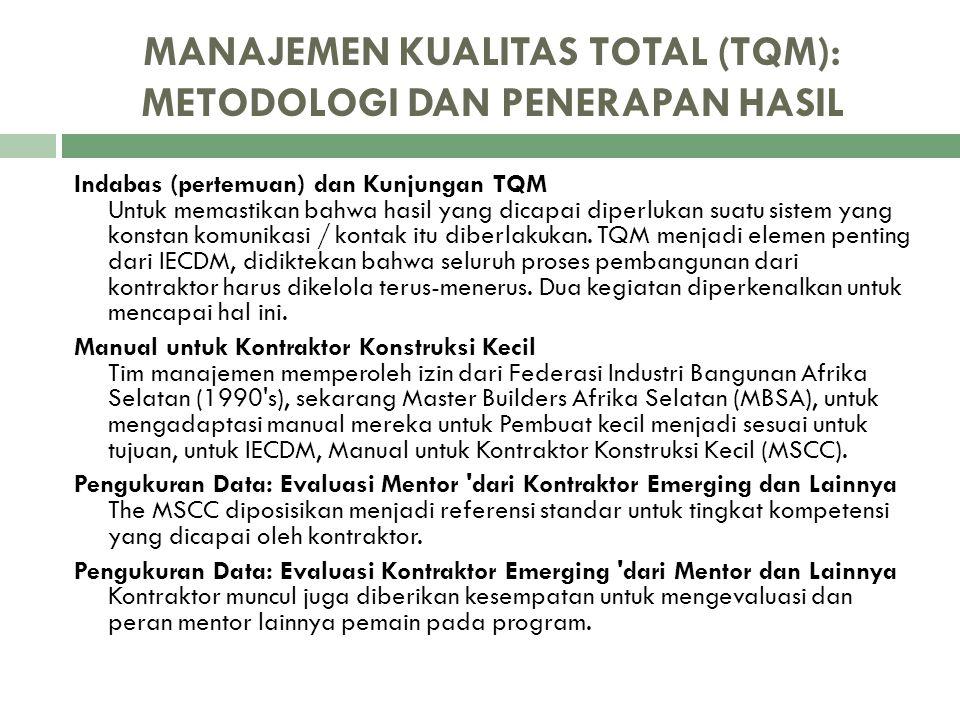 MANAJEMEN KUALITAS TOTAL (TQM): METODOLOGI DAN PENERAPAN HASIL