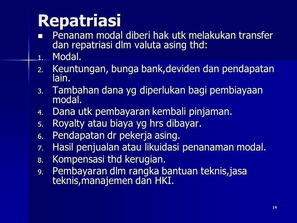 Repatriasi Penanam modal diberi hak utk melakukan transfer dan repatriasi dlm valuta asing thd: Modal.