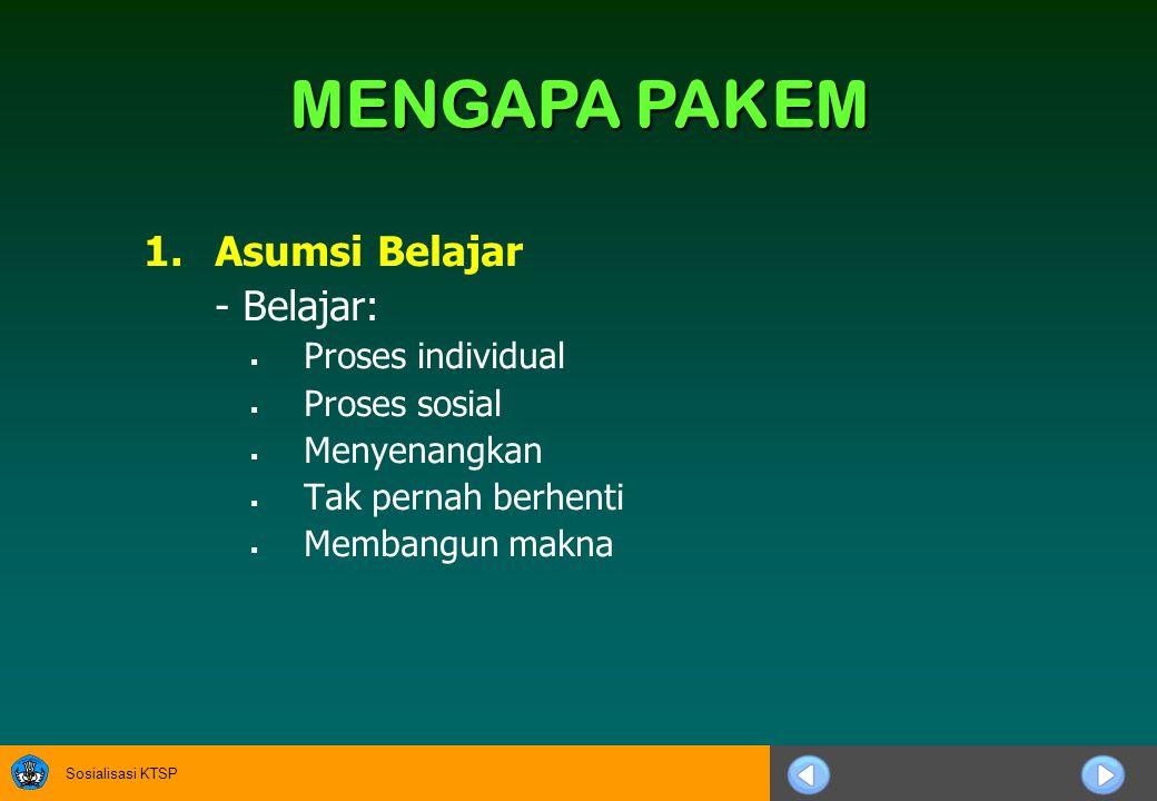 MENGAPA PAKEM Asumsi Belajar - Belajar: Proses individual