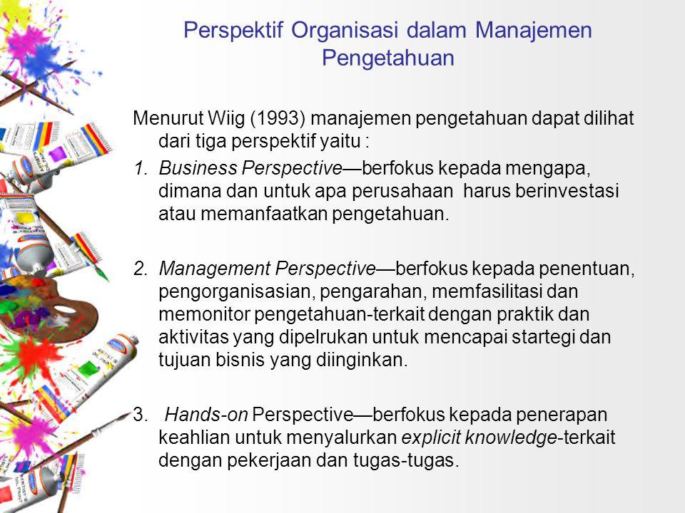 Perspektif Organisasi dalam Manajemen Pengetahuan