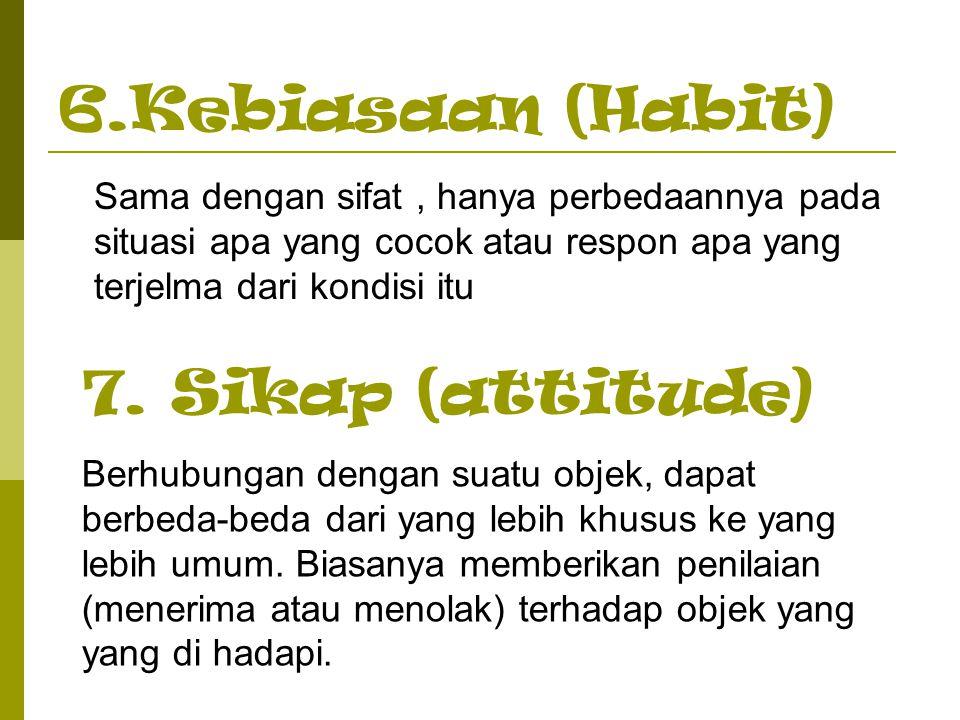 6.Kebiasaan (Habit) 7. Sikap (attitude)