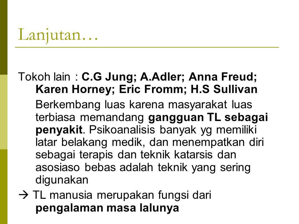 Lanjutan… Tokoh lain : C.G Jung; A.Adler; Anna Freud; Karen Horney; Eric Fromm; H.S Sullivan.