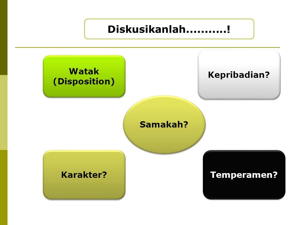 Diskusikanlah...........! Kepribadian Watak (Disposition) Samakah
