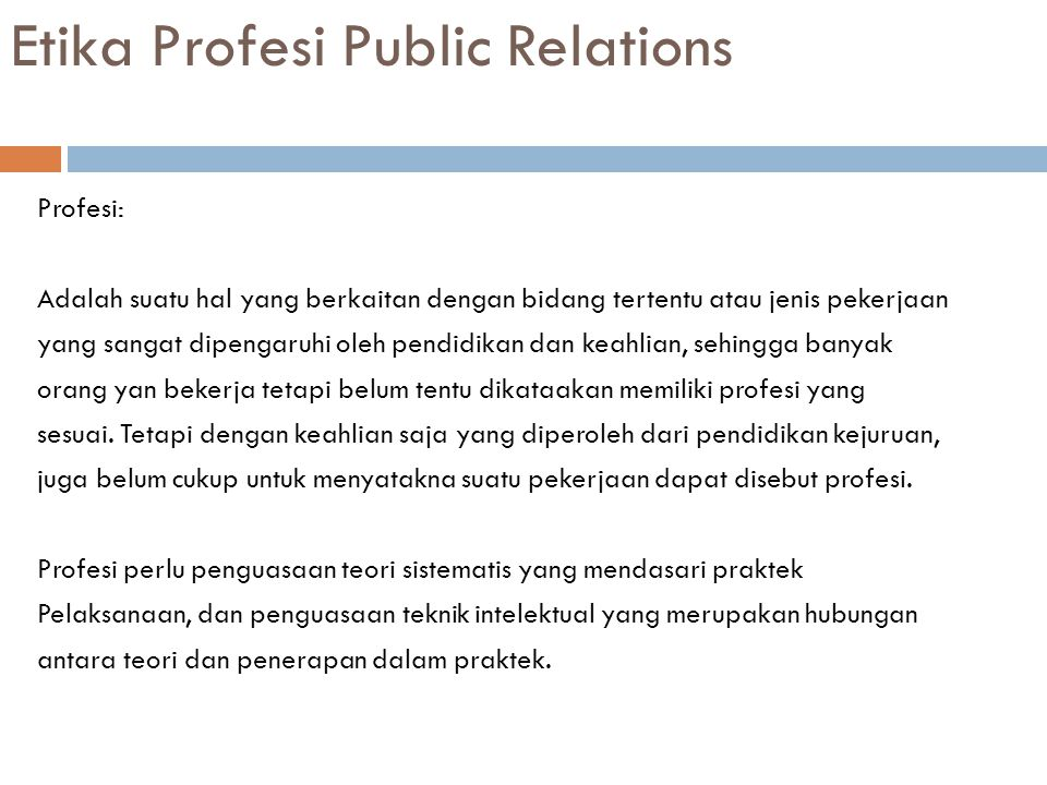 Etika Profesi Public Relations