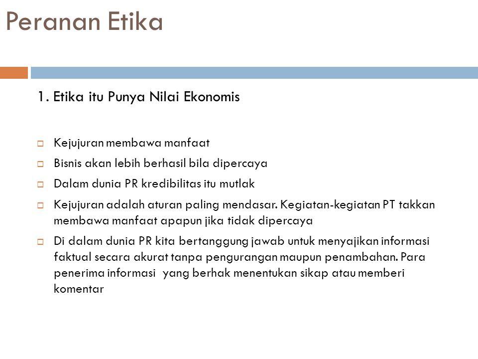 Peranan Etika 1. Etika itu Punya Nilai Ekonomis