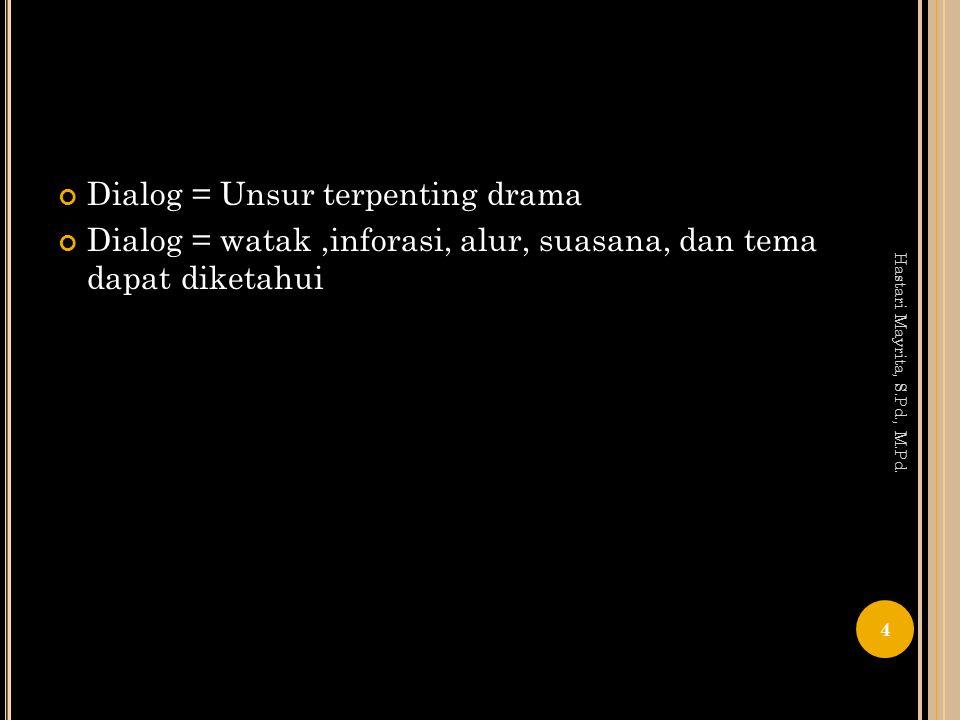 Dialog = Unsur terpenting drama