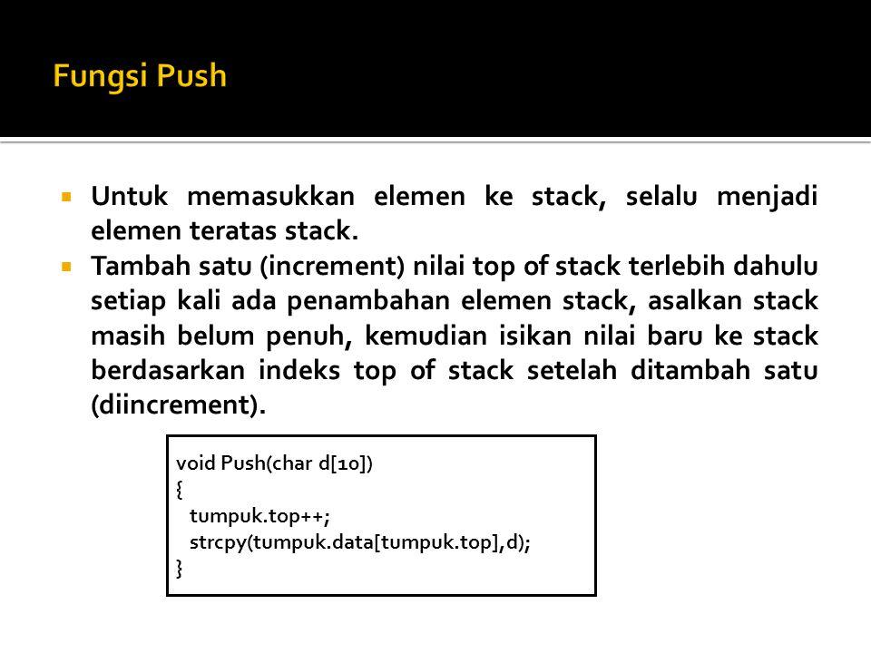 Fungsi Push Untuk memasukkan elemen ke stack, selalu menjadi elemen teratas stack.