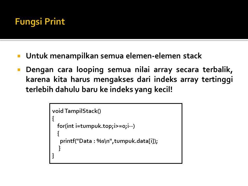 Fungsi Print Untuk menampilkan semua elemen-elemen stack