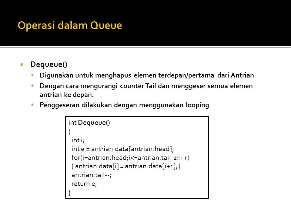 Operasi dalam Queue Dequeue()