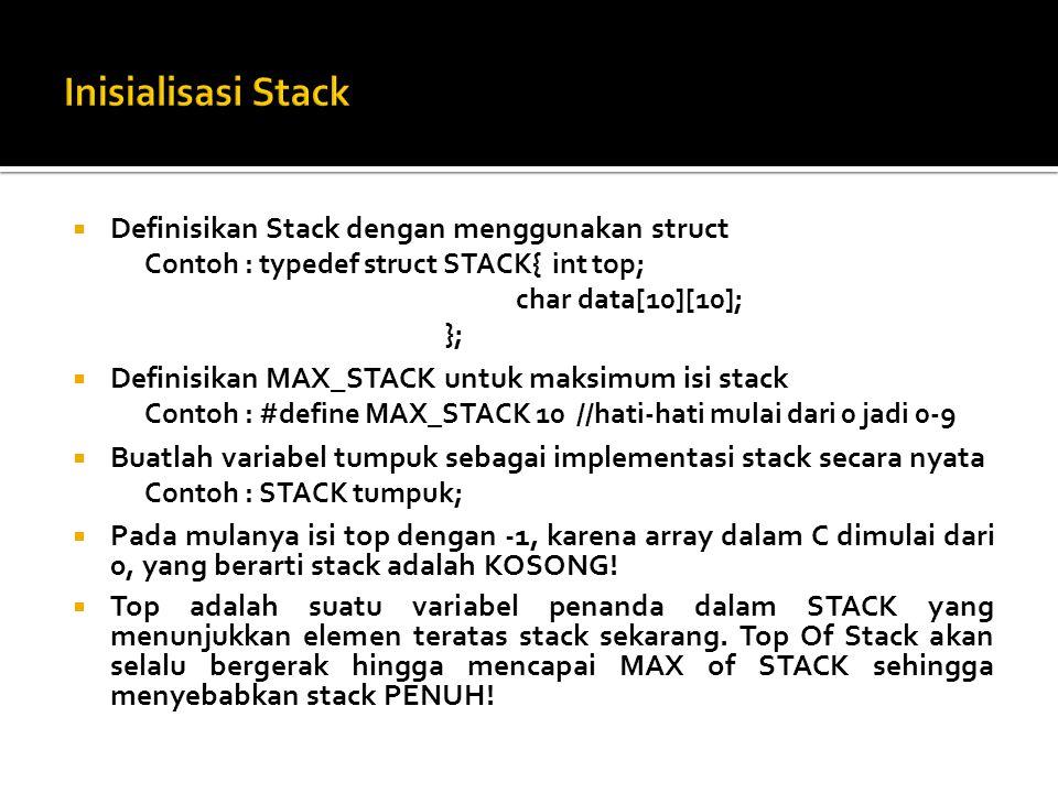 Inisialisasi Stack Definisikan Stack dengan menggunakan struct
