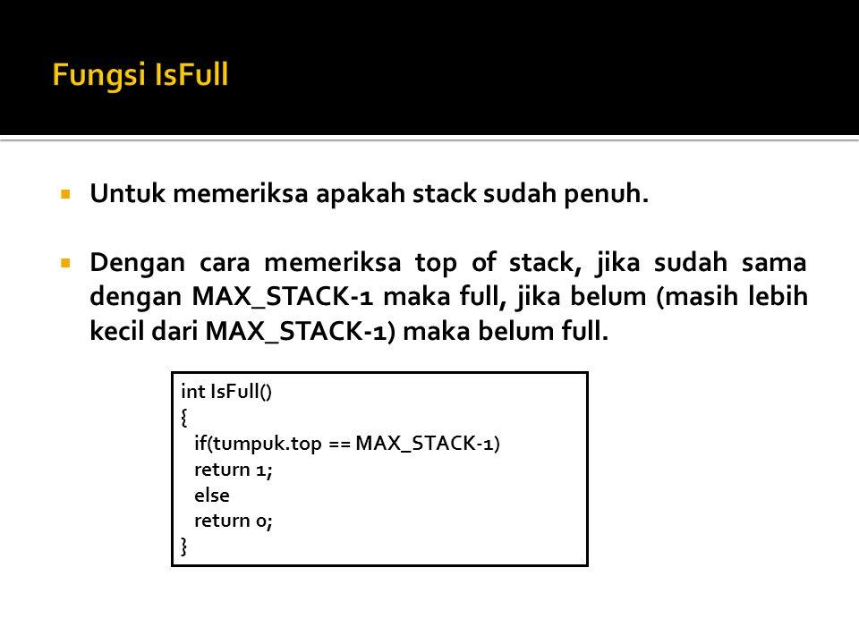 Fungsi IsFull Untuk memeriksa apakah stack sudah penuh.