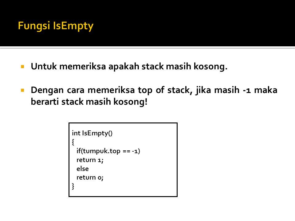 Fungsi IsEmpty Untuk memeriksa apakah stack masih kosong.
