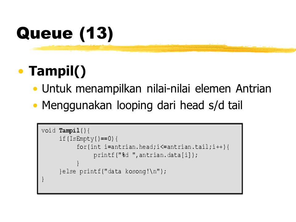 Queue (13) Tampil() Untuk menampilkan nilai-nilai elemen Antrian
