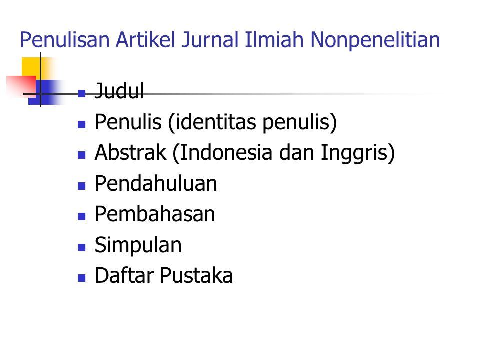 Penulisan Artikel Jurnal Ilmiah Nonpenelitian