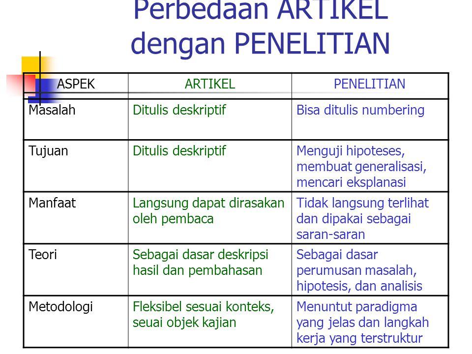 Perbedaan ARTIKEL dengan PENELITIAN