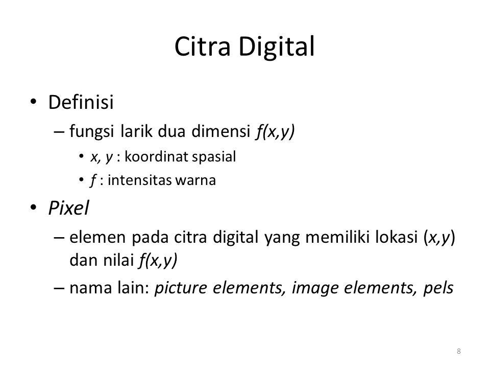 Citra Digital Definisi Pixel fungsi larik dua dimensi f(x,y)