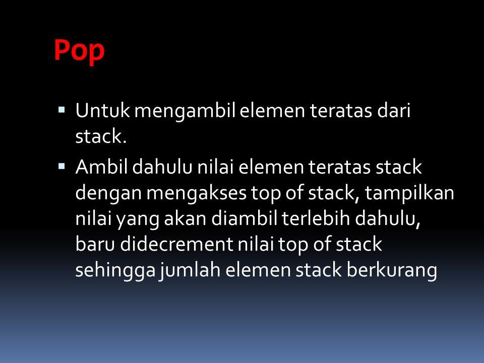 Pop Untuk mengambil elemen teratas dari stack.