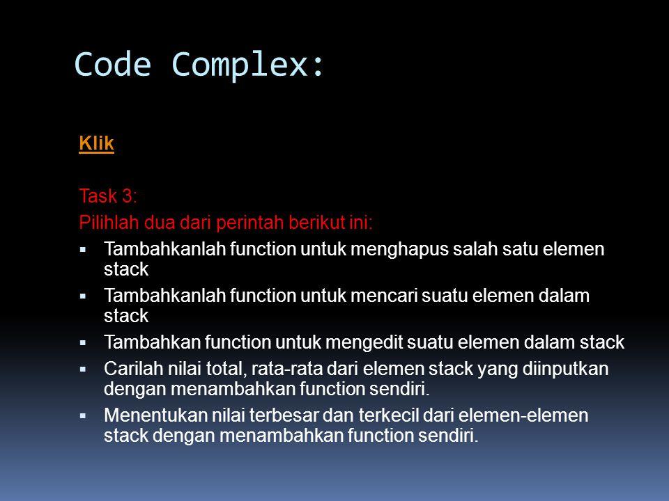 Code Complex: Klik Task 3: Pilihlah dua dari perintah berikut ini: