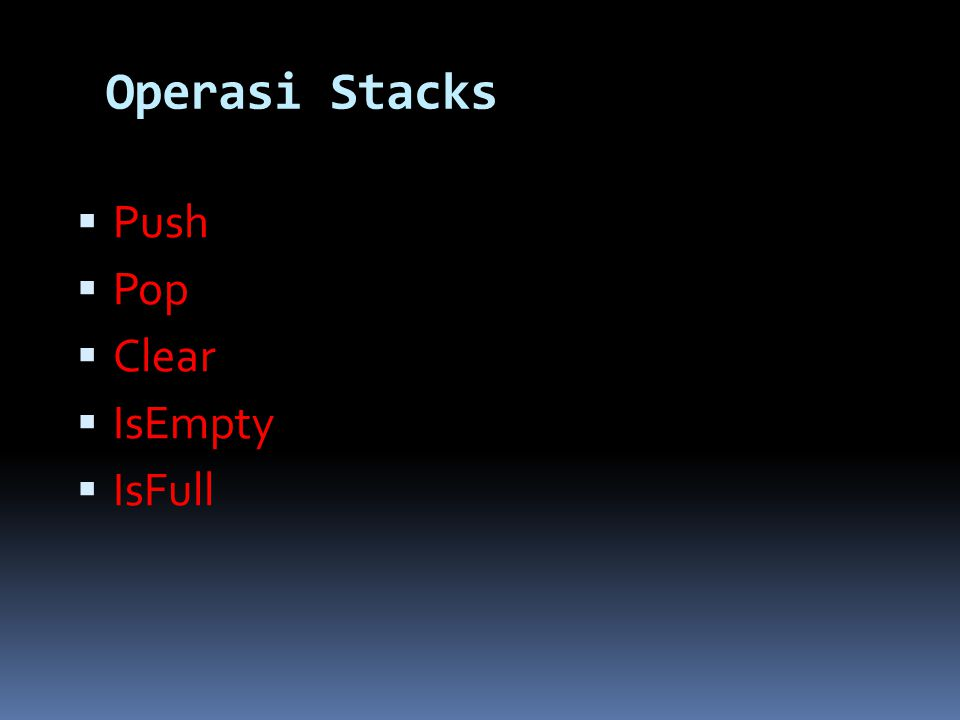 Operasi Stacks Push Pop Clear IsEmpty IsFull