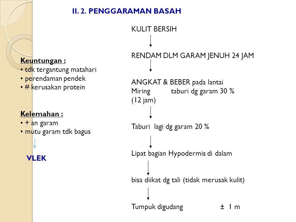 II. 2. PENGGARAMAN BASAH KULIT BERSIH. RENDAM DLM GARAM JENUH 24 JAM. ANGKAT & BEBER pada lantai.
