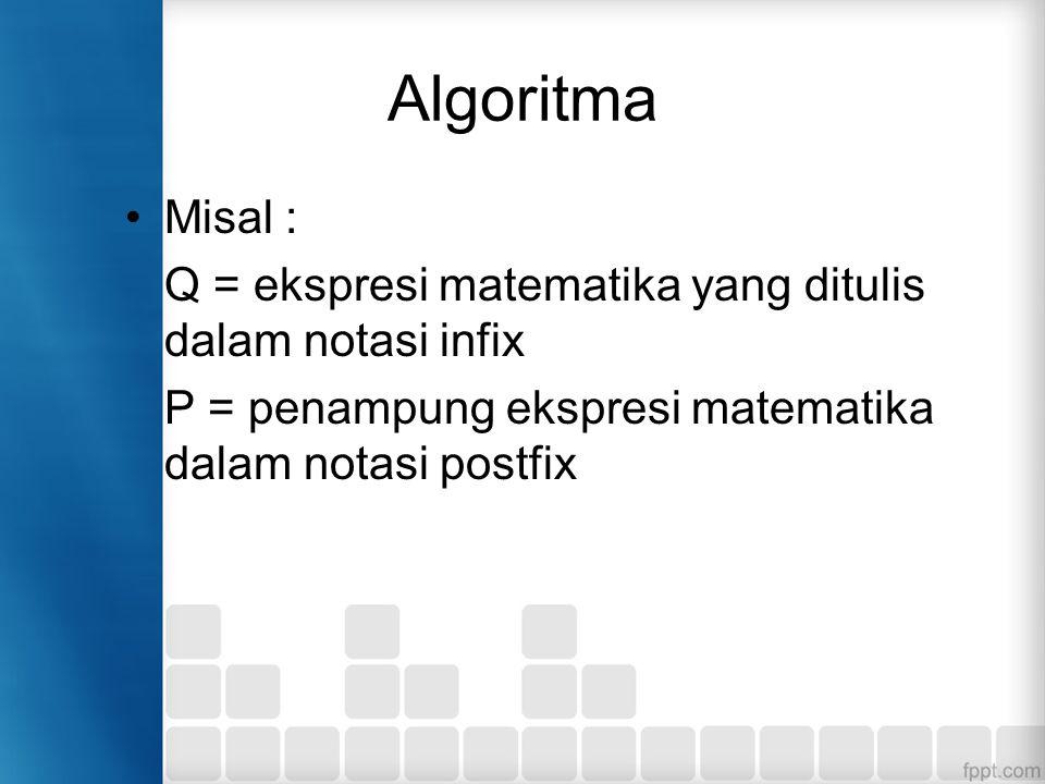 Algoritma Misal : Q = ekspresi matematika yang ditulis dalam notasi infix.