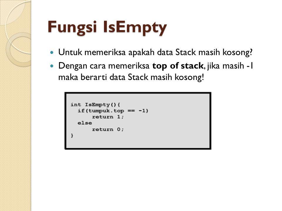 Fungsi IsEmpty Untuk memeriksa apakah data Stack masih kosong