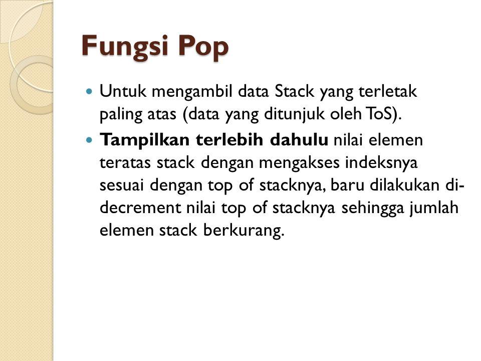 Fungsi Pop Untuk mengambil data Stack yang terletak paling atas (data yang ditunjuk oleh ToS).