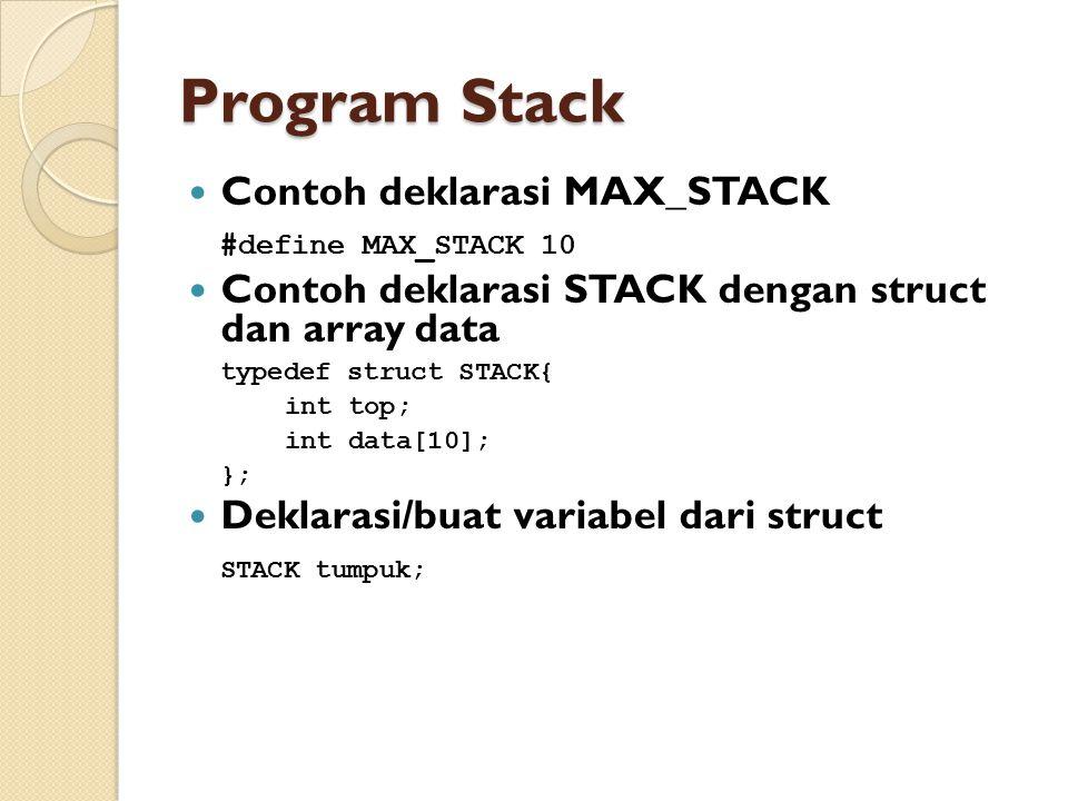Program Stack Contoh deklarasi MAX_STACK #define MAX_STACK 10