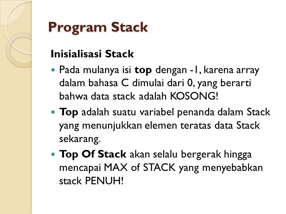 Program Stack Inisialisasi Stack
