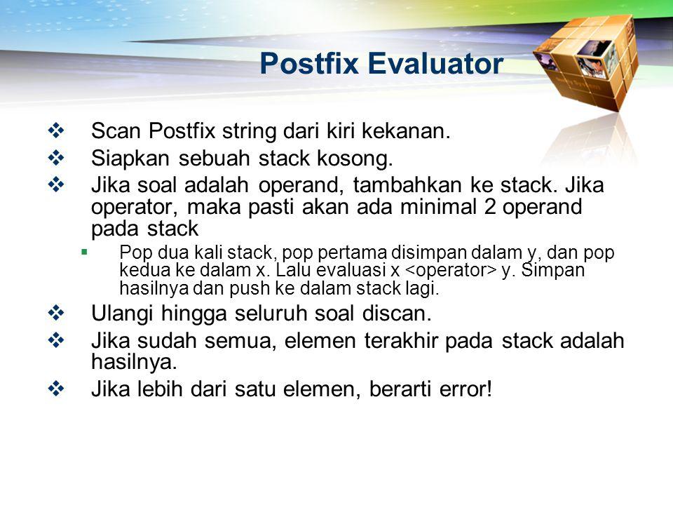 Postfix Evaluator Scan Postfix string dari kiri kekanan.