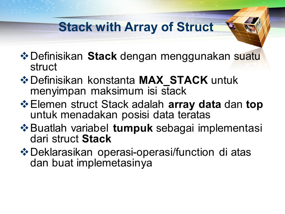 Stack with Array of Struct