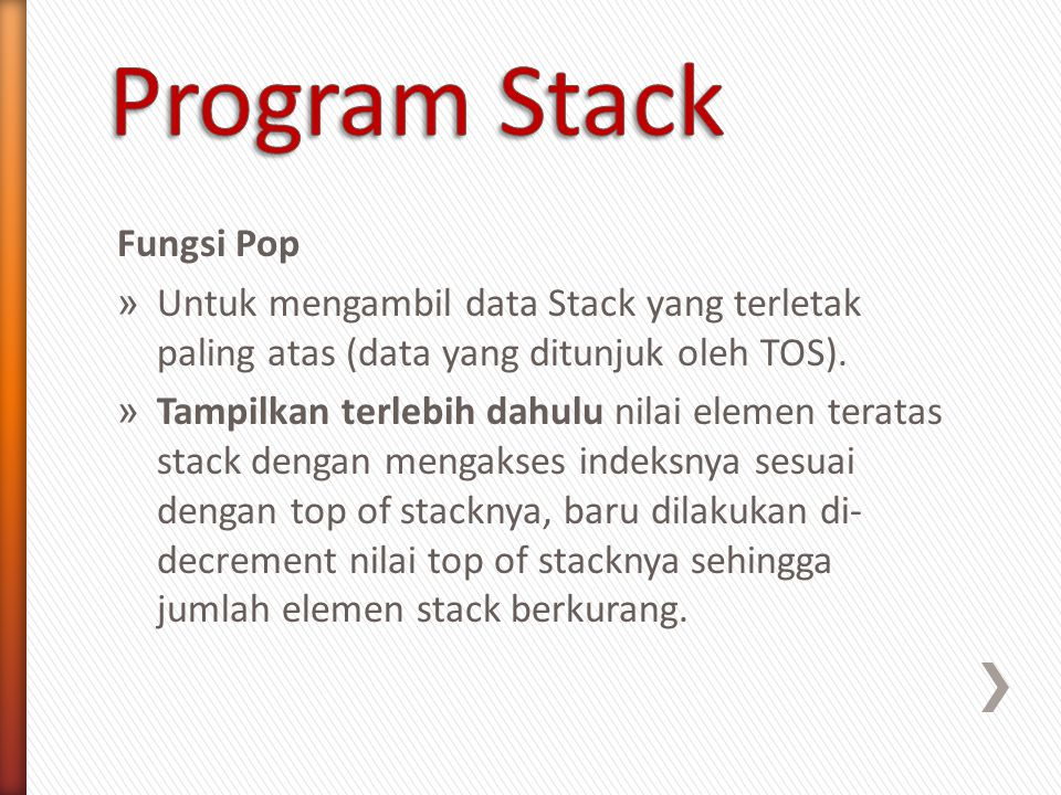 Program Stack Fungsi Pop