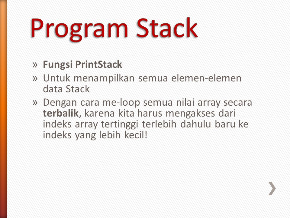 Program Stack Fungsi PrintStack